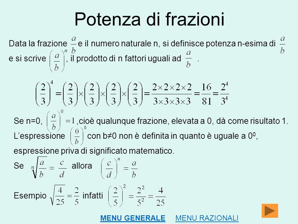 Potenza di frazioni Data la frazione e il numero naturale n, si definisce potenza n-esima di.