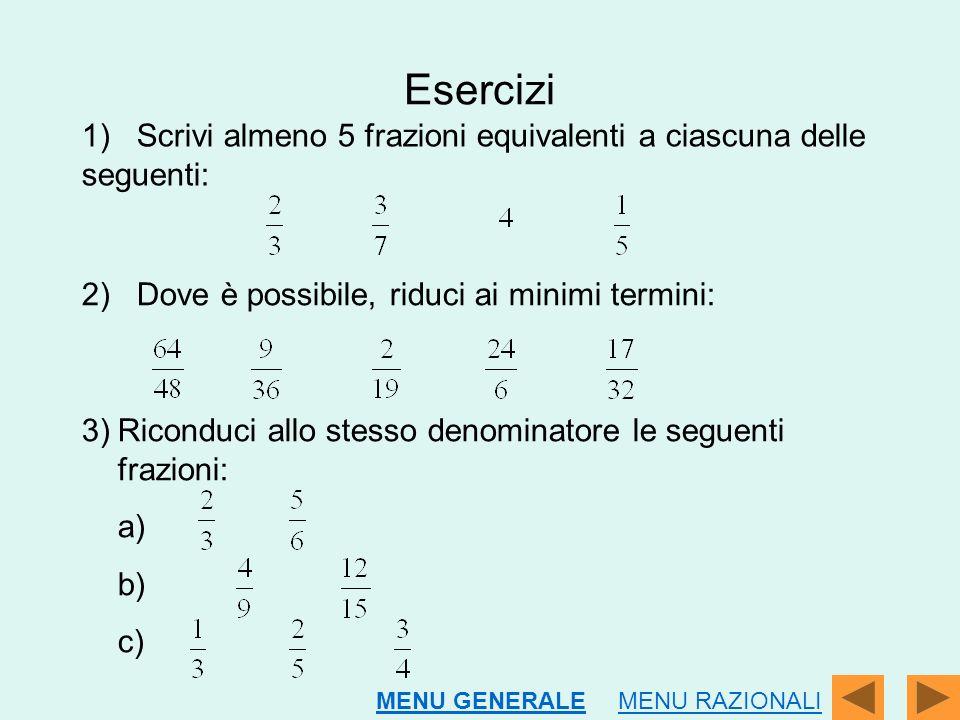 Esercizi 1) Scrivi almeno 5 frazioni equivalenti a ciascuna delle seguenti: 2) Dove è possibile, riduci ai minimi termini: