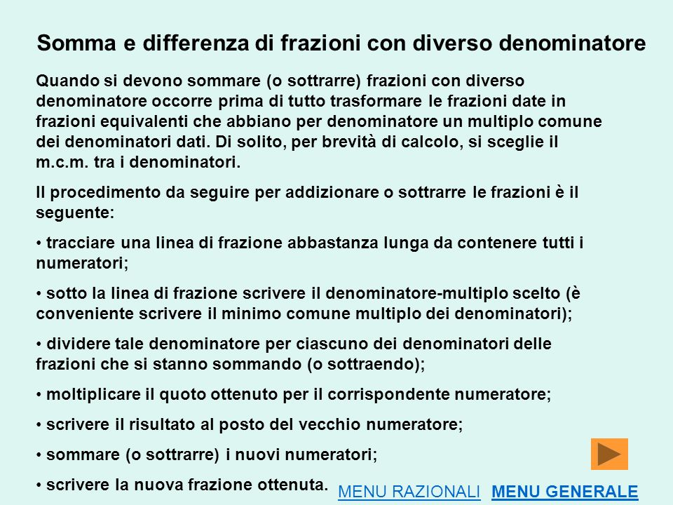 Somma e differenza di frazioni con diverso denominatore