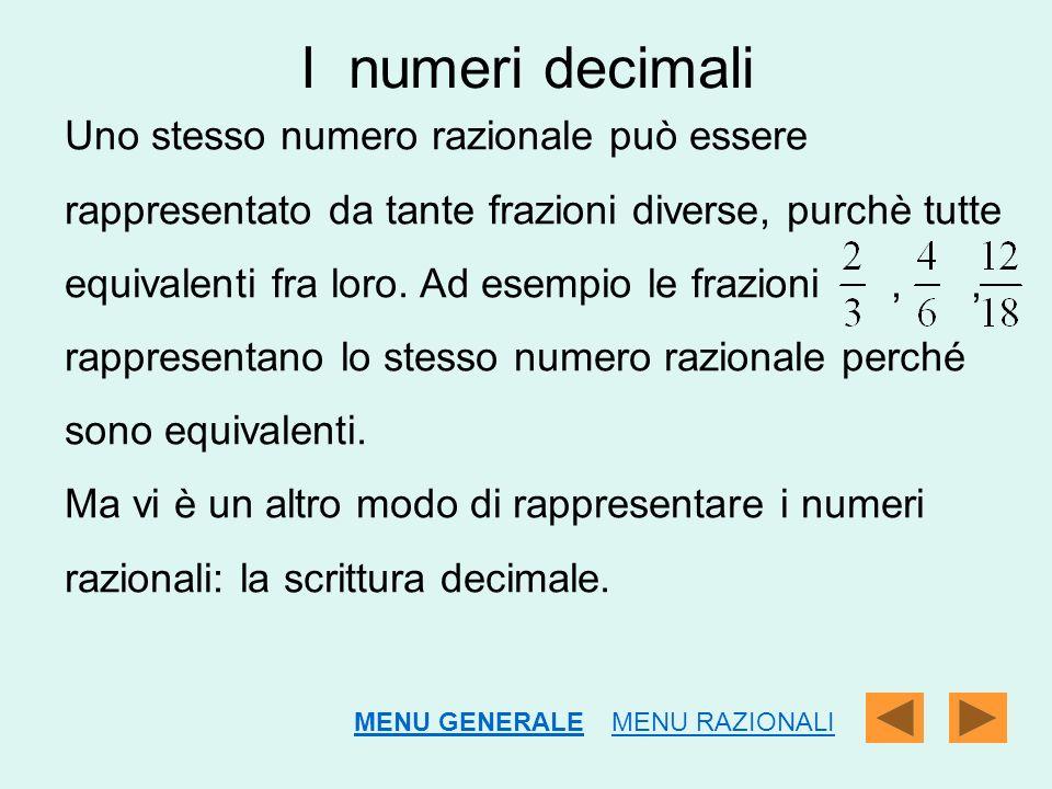 I numeri decimali Uno stesso numero razionale può essere