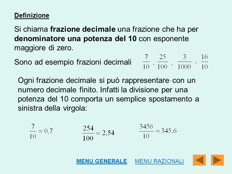 Sono ad esempio frazioni decimali