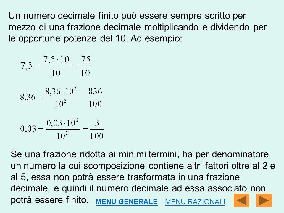 Un numero decimale finito può essere sempre scritto per mezzo di una frazione decimale moltiplicando e dividendo per le opportune potenze del 10. Ad esempio:
