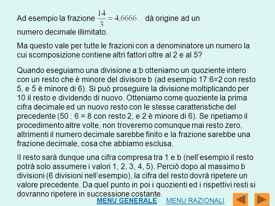 Ad esempio la frazione dà origine ad un numero decimale illimitato.