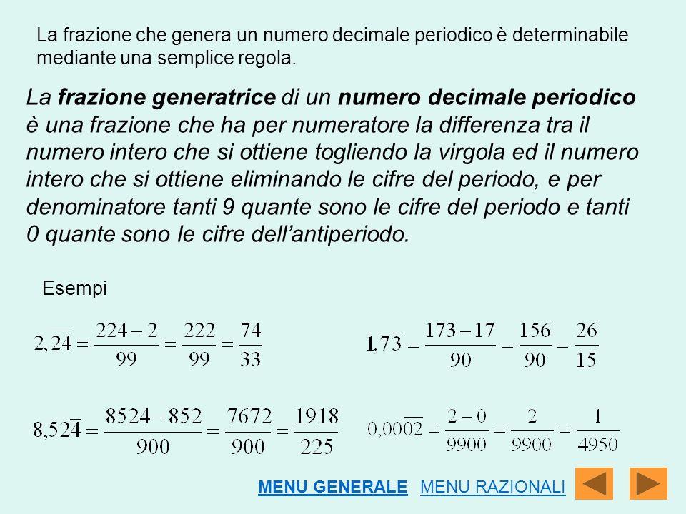 La frazione che genera un numero decimale periodico è determinabile mediante una semplice regola.