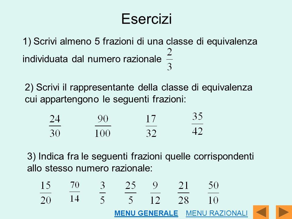 Esercizi Scrivi almeno 5 frazioni di una classe di equivalenza