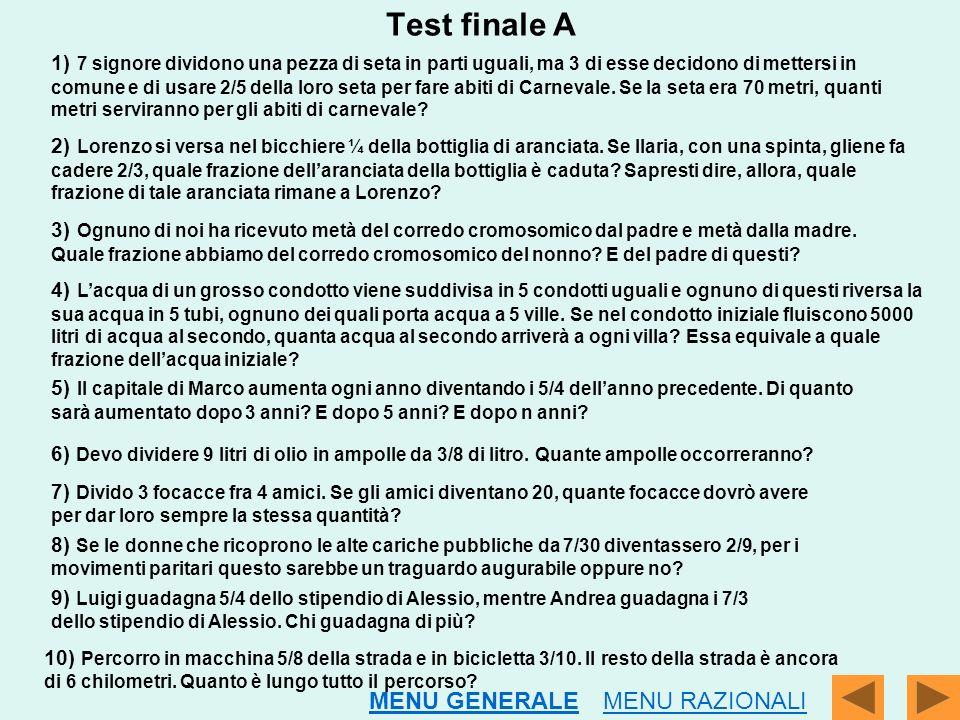 Test finale A MENU GENERALE MENU RAZIONALI