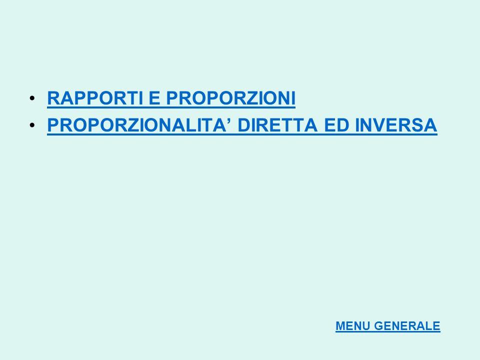 RAPPORTI E PROPORZIONI PROPORZIONALITA' DIRETTA ED INVERSA