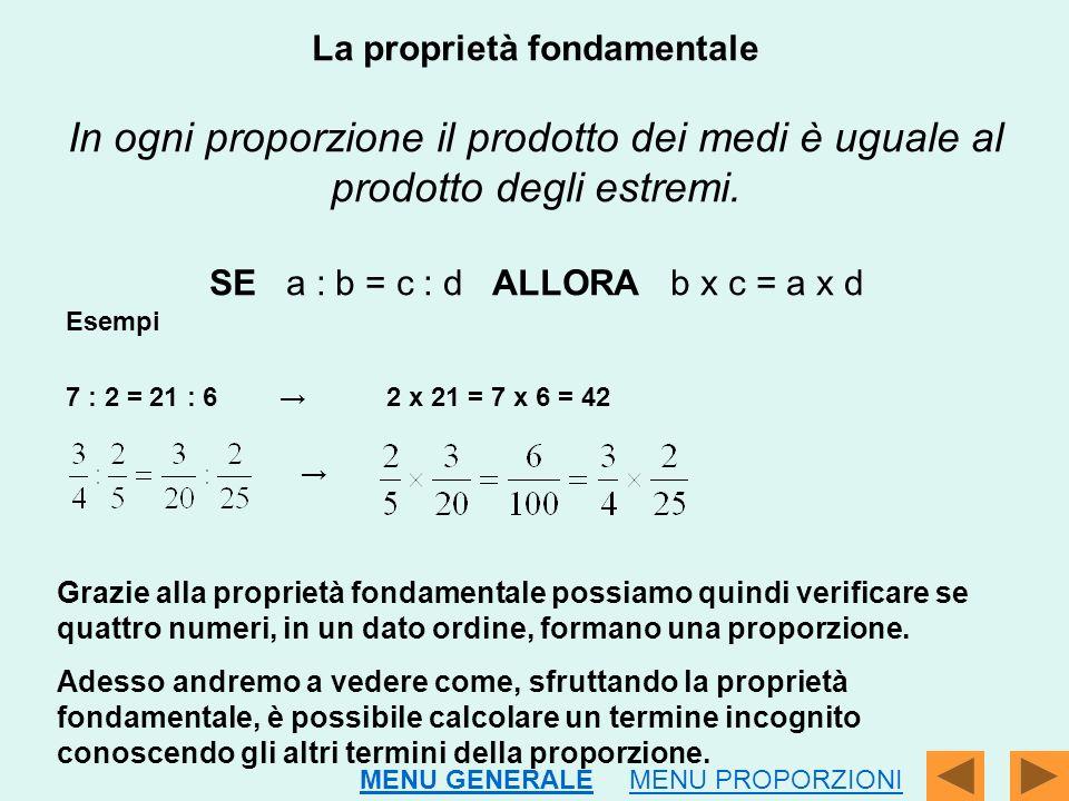 La proprietà fondamentale In ogni proporzione il prodotto dei medi è uguale al prodotto degli estremi. SE a : b = c : d ALLORA b x c = a x d
