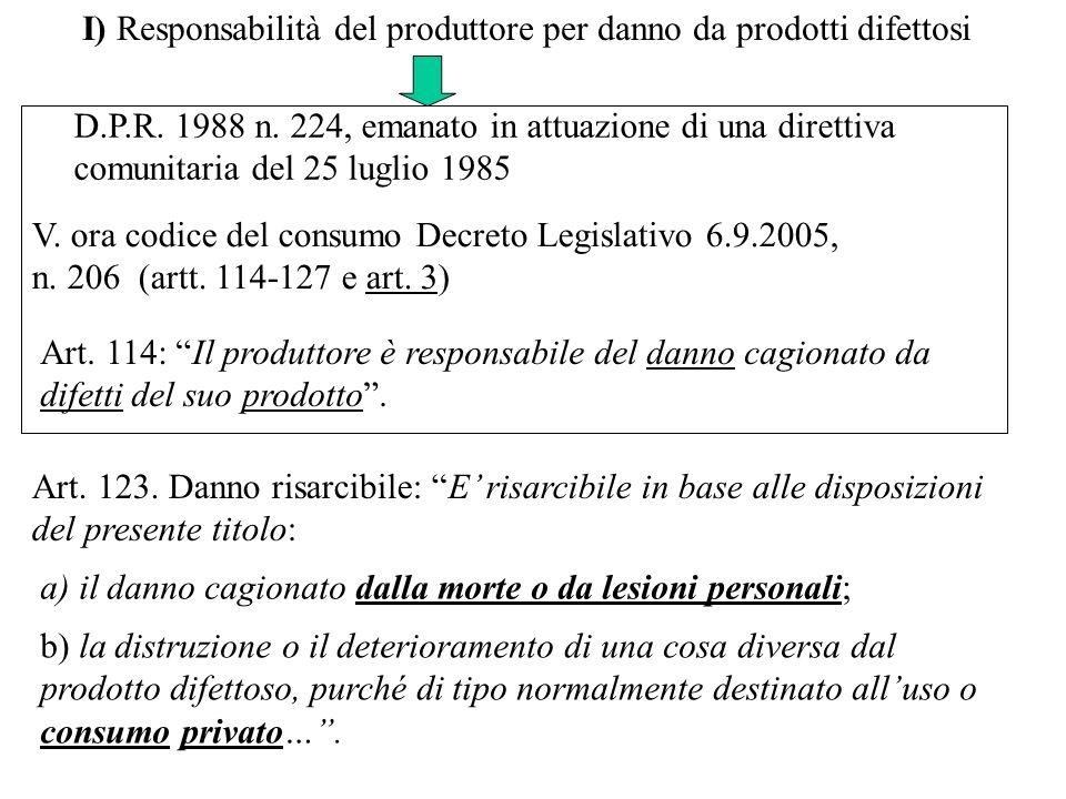 I) Responsabilità del produttore per danno da prodotti difettosi