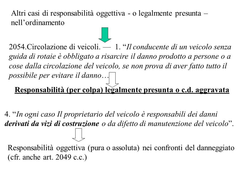 Altri casi di responsabilità oggettiva - o legalmente presunta –