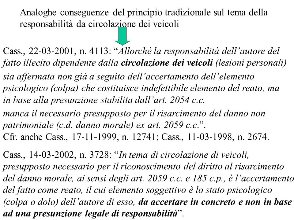 Analoghe conseguenze del principio tradizionale sul tema della