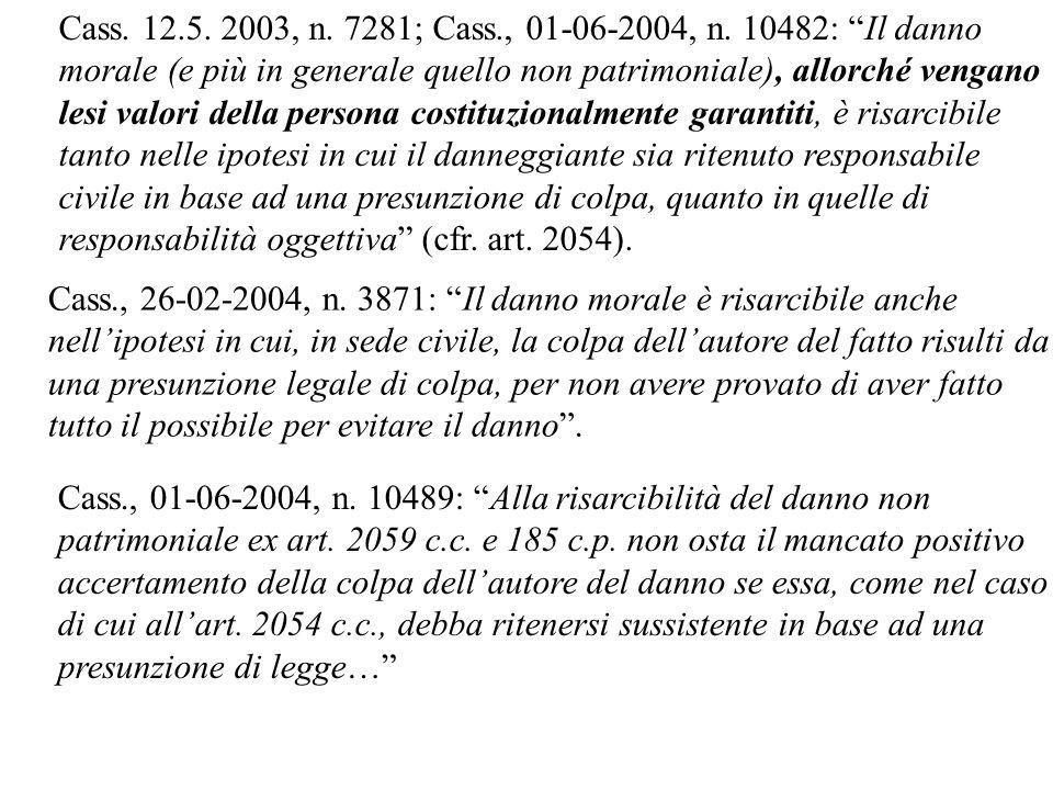 Cass. 12.5. 2003, n. 7281; Cass., 01-06-2004, n. 10482: Il danno