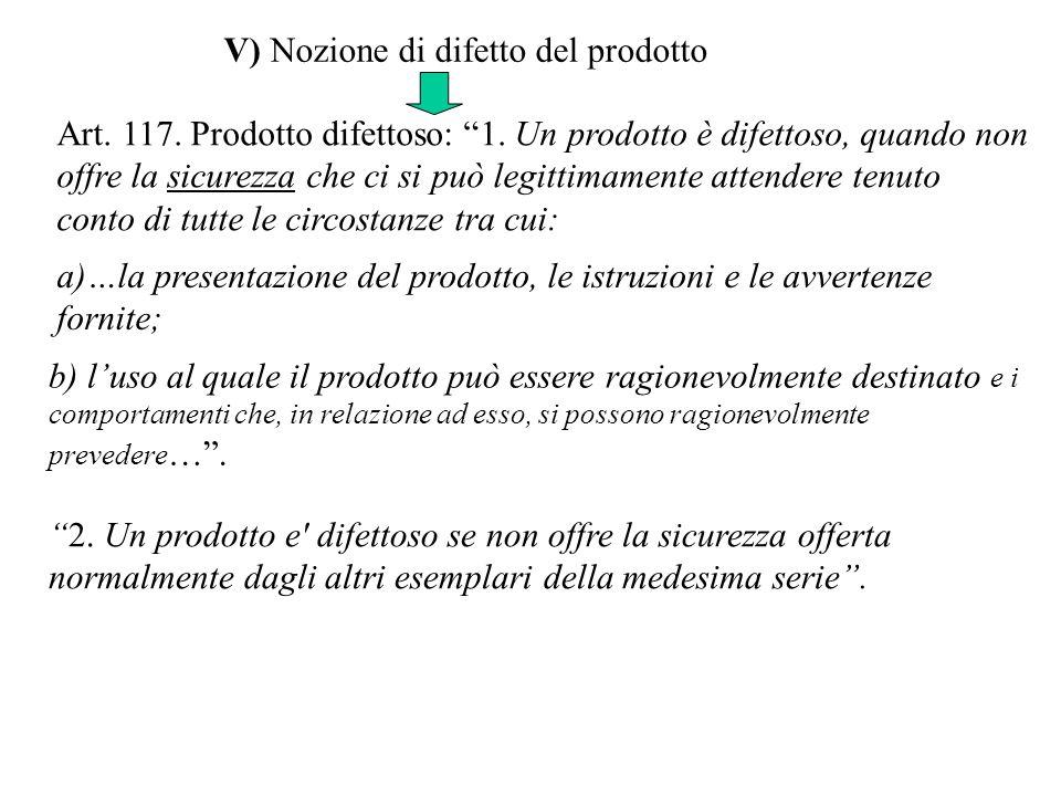V) Nozione di difetto del prodotto