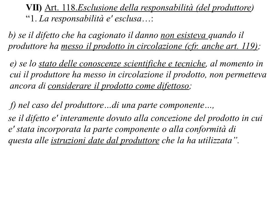 VII) Art. 118.Esclusione della responsabilità (del produttore)