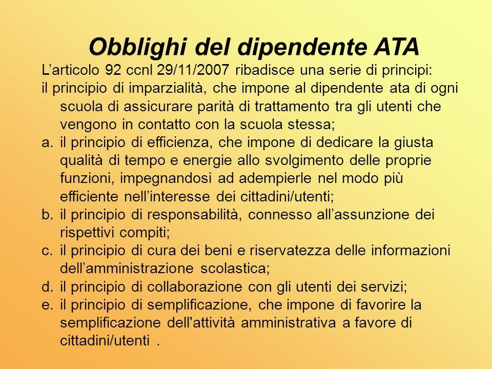 Obblighi del dipendente ATA
