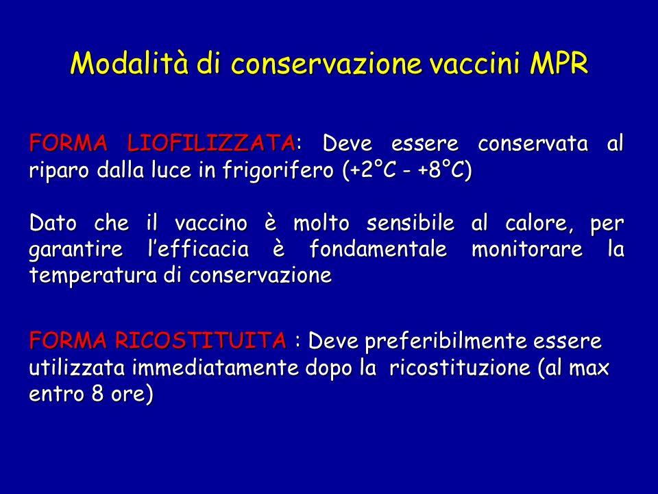 Modalità di conservazione vaccini MPR
