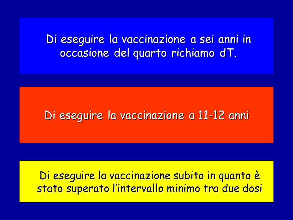 Di eseguire la vaccinazione a 11-12 anni