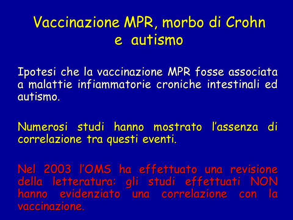 Vaccinazione MPR, morbo di Crohn e autismo
