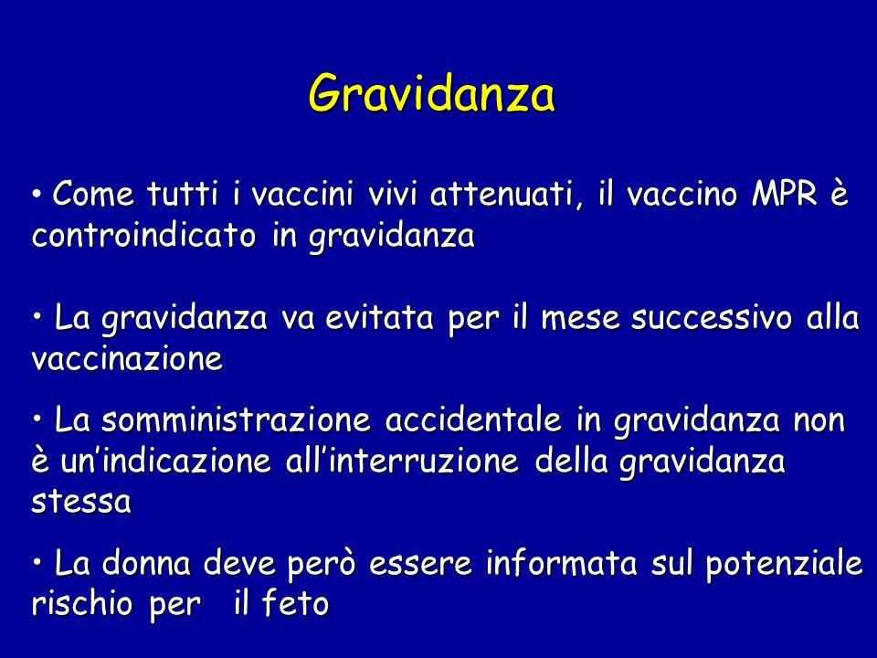 Gravidanza Come tutti i vaccini vivi attenuati, il vaccino MPR è controindicato in gravidanza.