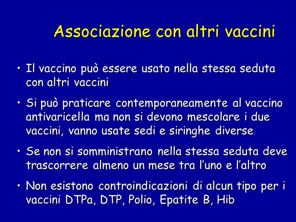 Associazione con altri vaccini