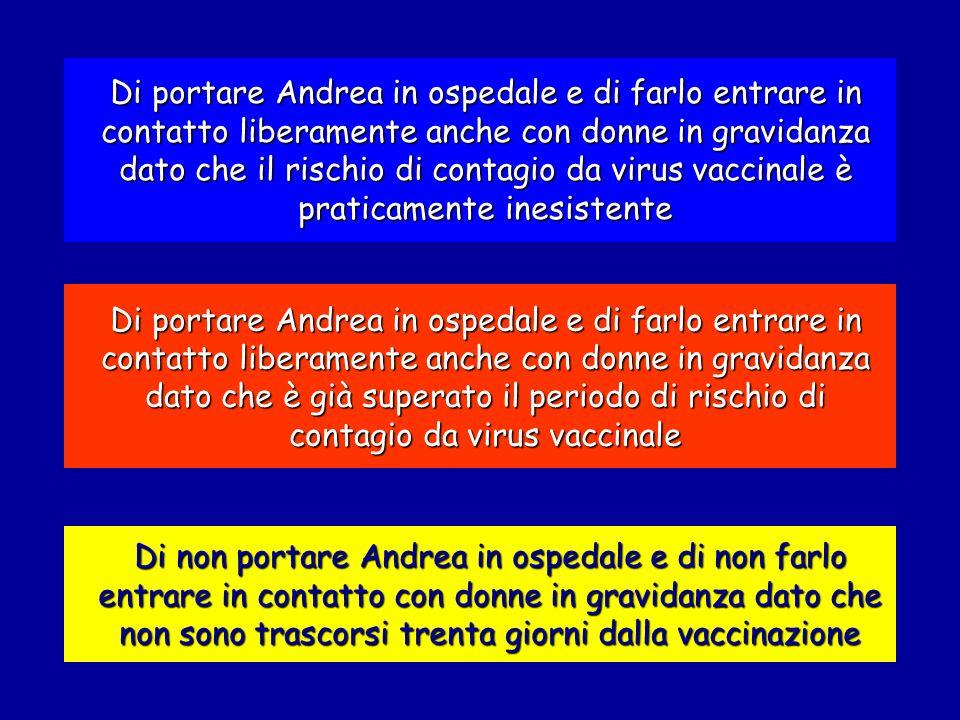 Di portare Andrea in ospedale e di farlo entrare in contatto liberamente anche con donne in gravidanza dato che il rischio di contagio da virus vaccinale è praticamente inesistente