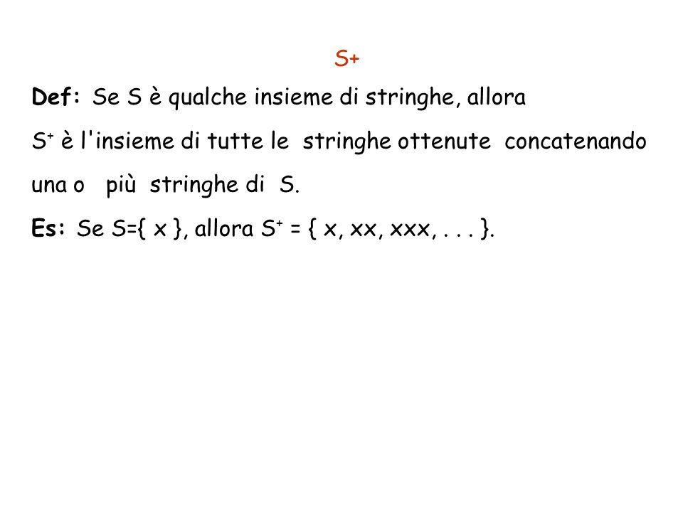 S+Def: Se S è qualche insieme di stringhe, allora. S+ è l insieme di tutte le stringhe ottenute concatenando una o più stringhe di S.