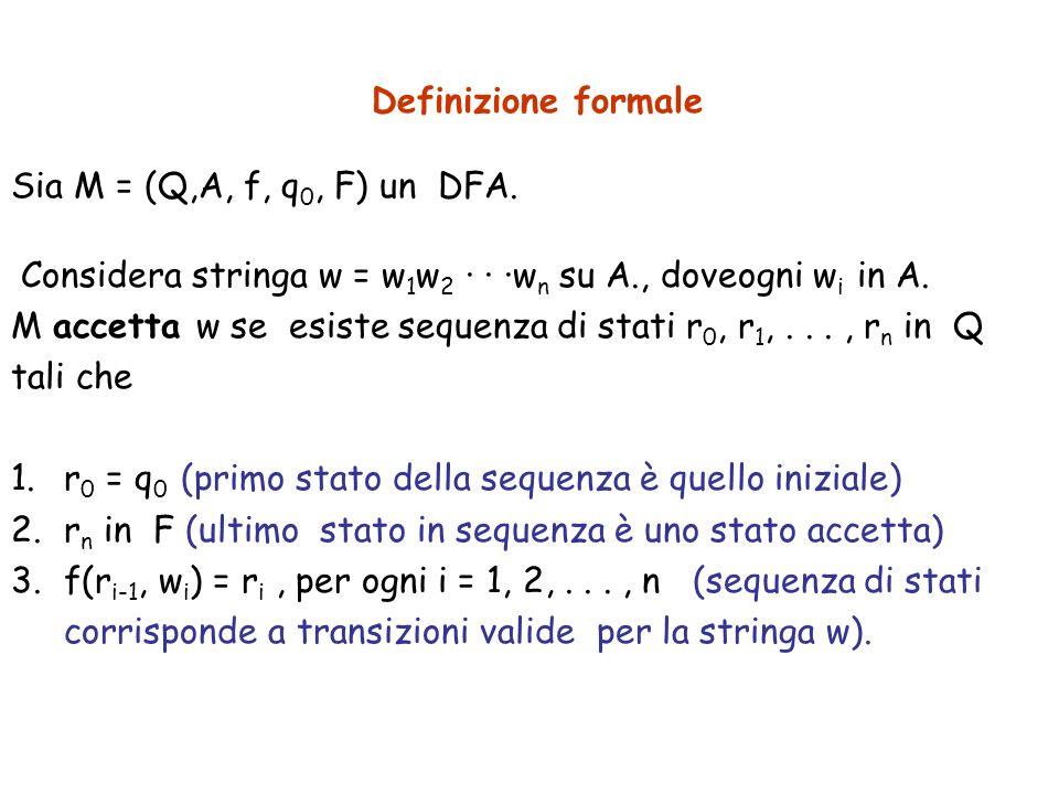 Definizione formaleSia M = (Q,A, f, q0, F) un DFA. Considera stringa w = w1w2 · · ·wn su A., doveogni wi in A.