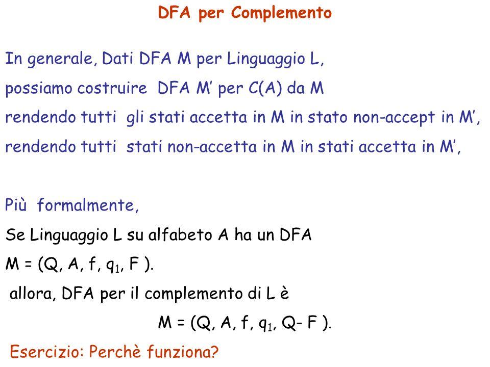 DFA per Complemento In generale, Dati DFA M per Linguaggio L, possiamo costruire DFA M' per C(A) da M.