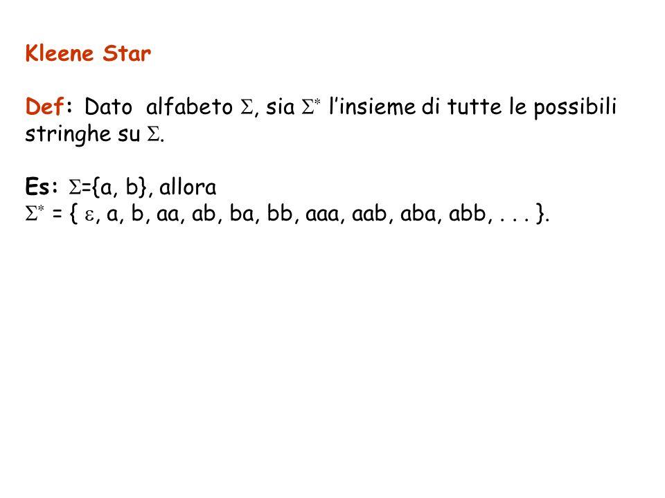 Kleene Star Def: Dato alfabeto S, sia S* l'insieme di tutte le possibili. stringhe su S. Es: S={a, b}, allora.