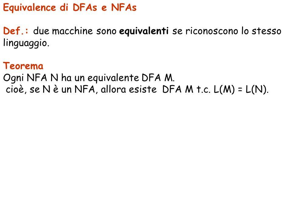 Equivalence di DFAs e NFAs