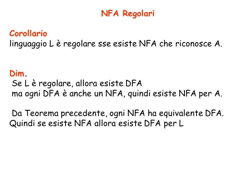 NFA Regolari Corollario. linguaggio L è regolare sse esiste NFA che riconosce A. Dim. Se L è regolare, allora esiste DFA.