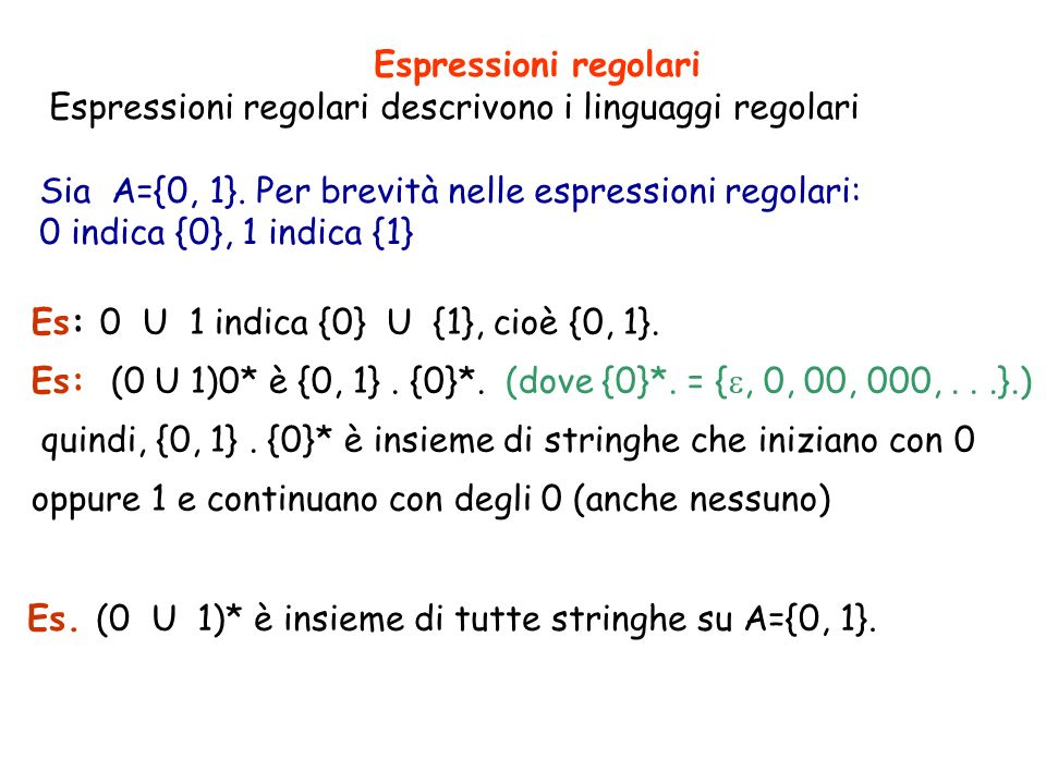 Espressioni regolariEspressioni regolari descrivono i linguaggi regolari. Sia A={0, 1}. Per brevità nelle espressioni regolari: