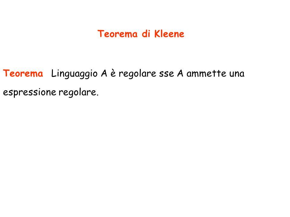 Teorema di Kleene Teorema Linguaggio A è regolare sse A ammette una espressione regolare.
