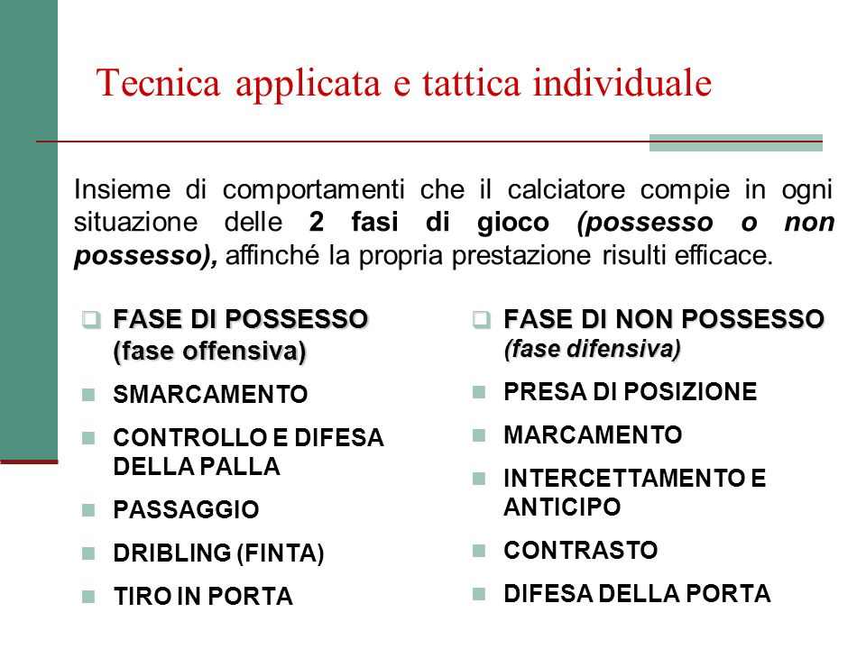 Tecnica applicata e tattica individuale