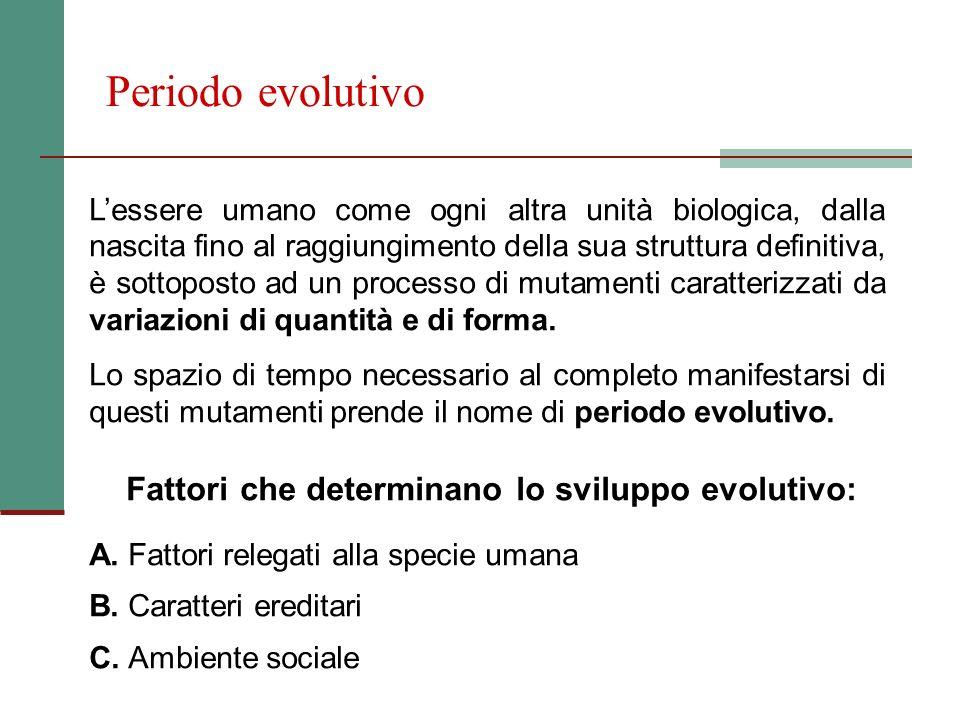 Fattori che determinano lo sviluppo evolutivo: