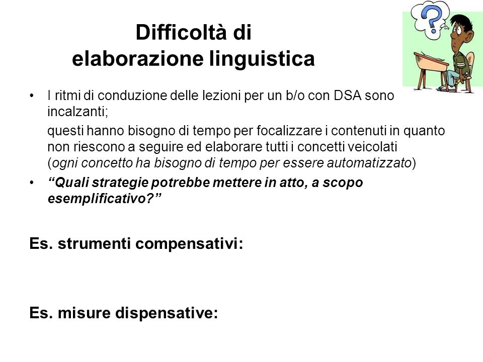 Difficoltà di elaborazione linguistica