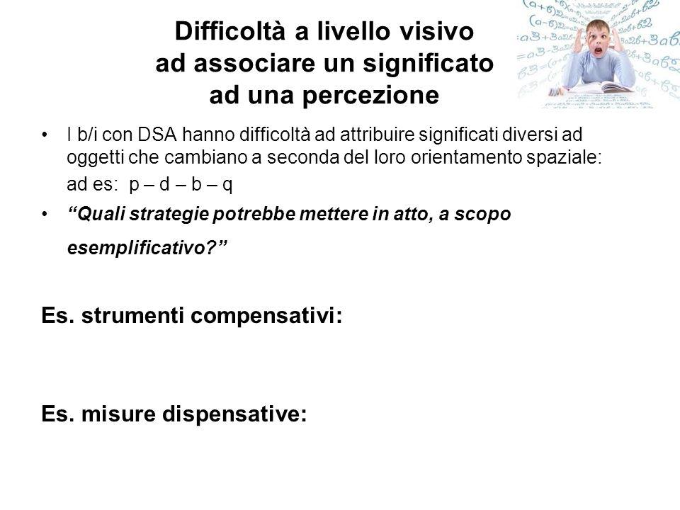 Difficoltà a livello visivo ad associare un significato ad una percezione