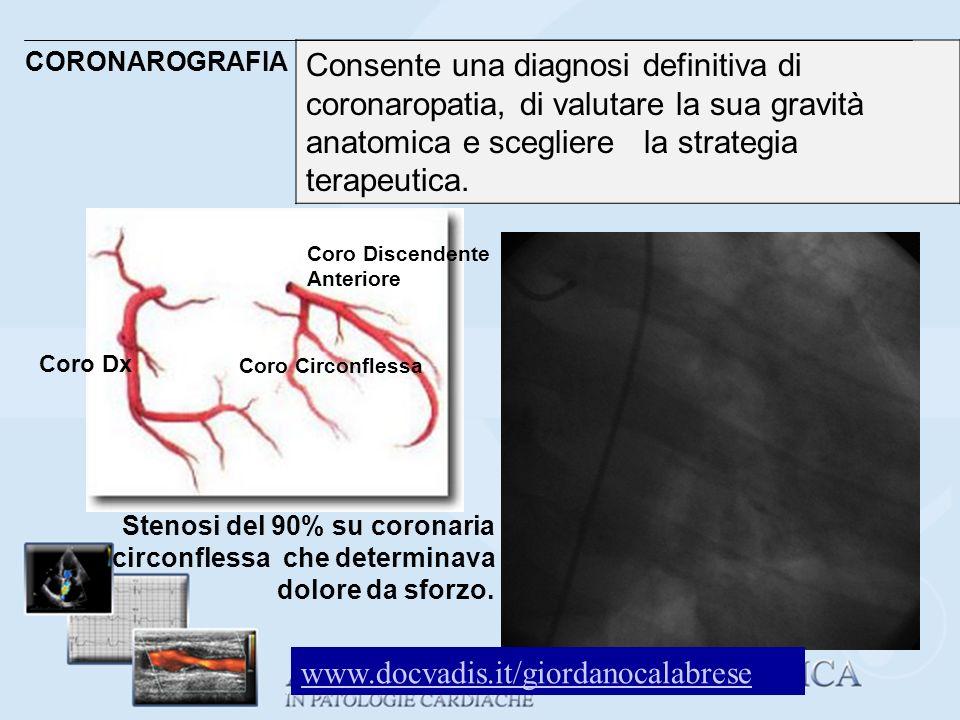 CORONAROGRAFIA Consente una diagnosi definitiva di coronaropatia, di valutare la sua gravità anatomica e scegliere la strategia terapeutica.