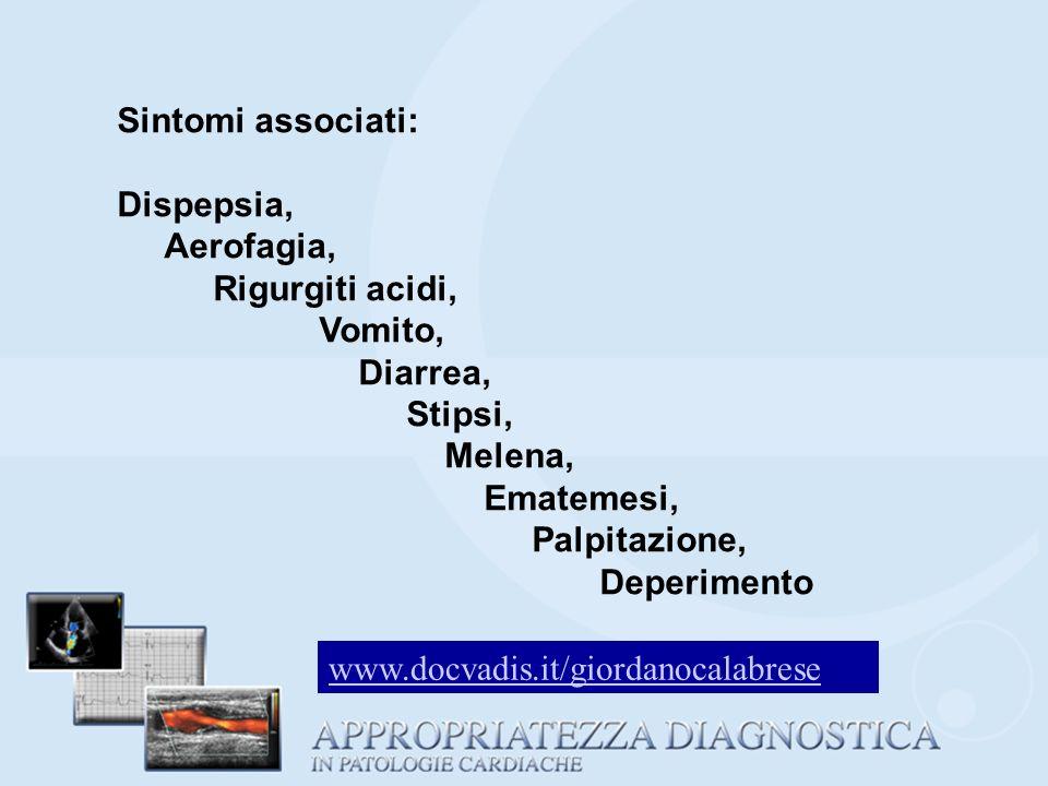 Sintomi associati: Dispepsia, Aerofagia, Rigurgiti acidi, Vomito, Diarrea, Stipsi, Melena, Ematemesi,