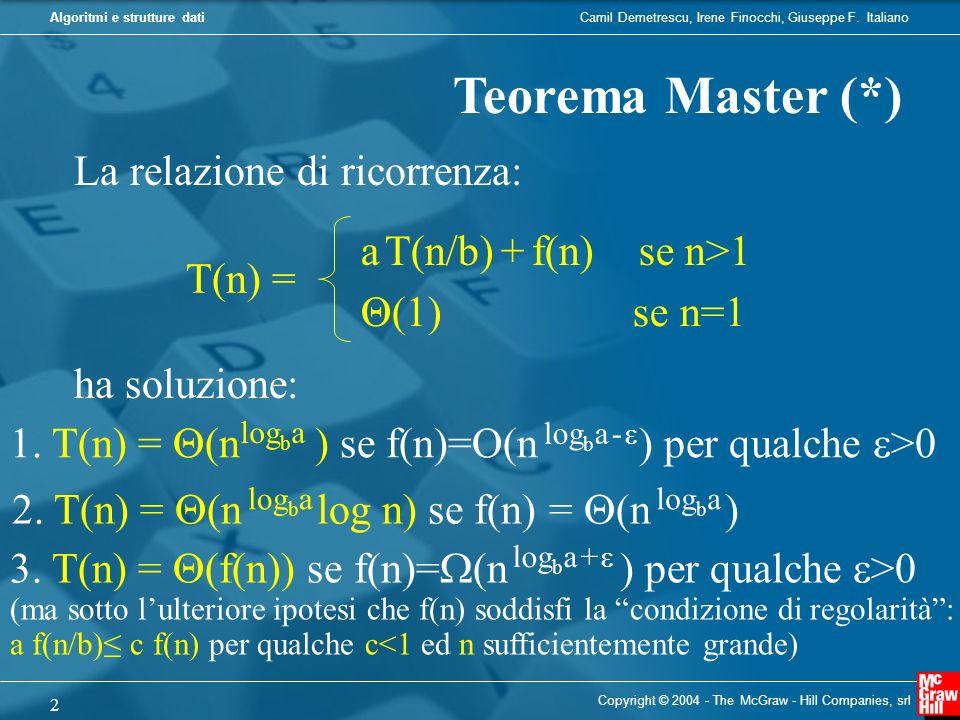 Teorema Master (*) La relazione di ricorrenza: