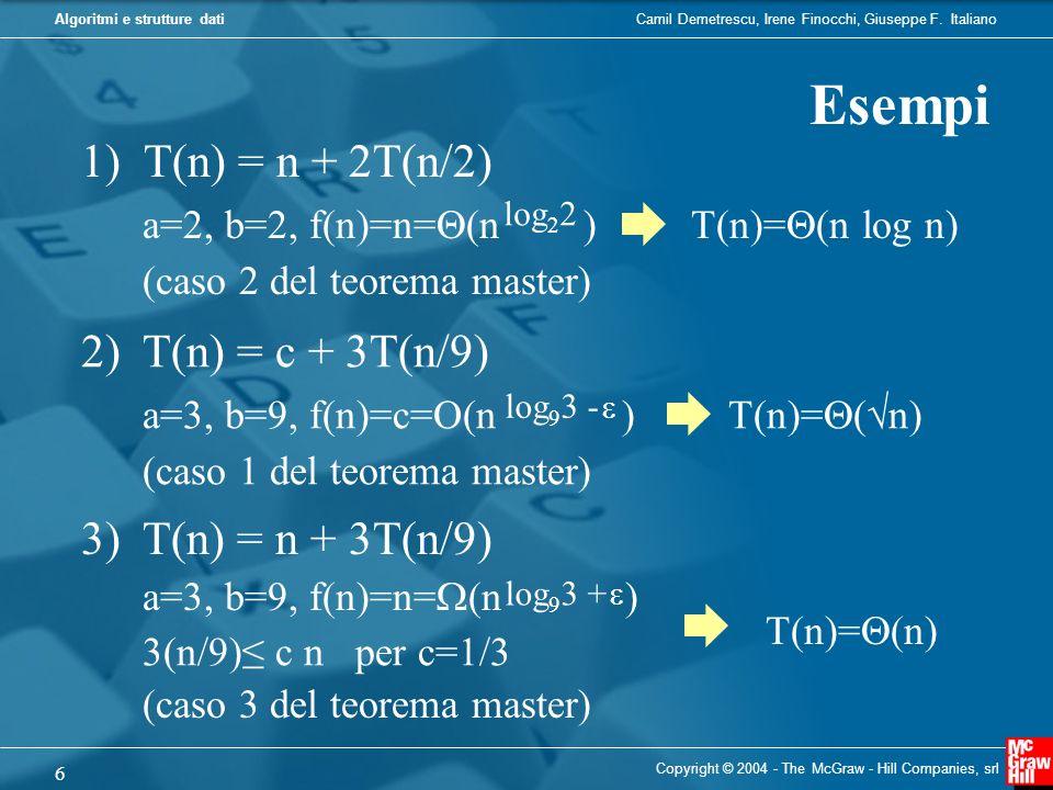Esempi 1) T(n) = n + 2T(n/2) 2) T(n) = c + 3T(n/9)