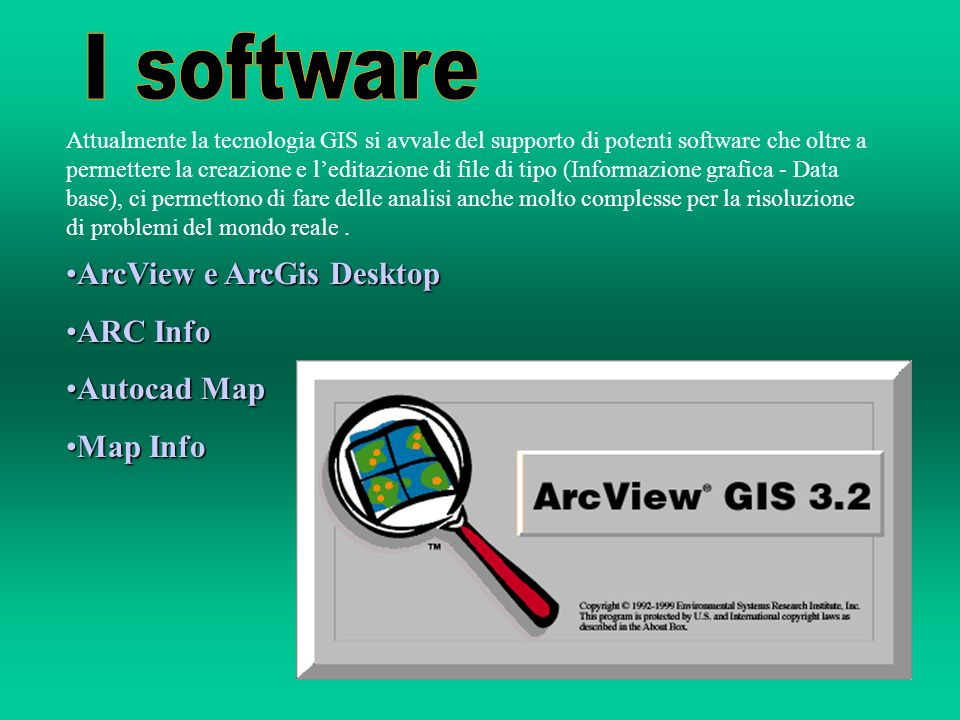 I software ArcView e ArcGis Desktop ARC Info Autocad Map Map Info