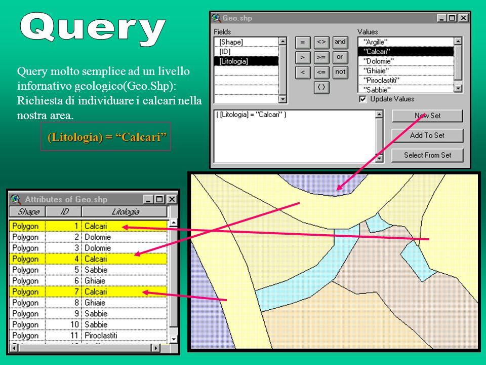 Query Query molto semplice ad un livello infornativo geologico(Geo.Shp): Richiesta di individuare i calcari nella nostra area.