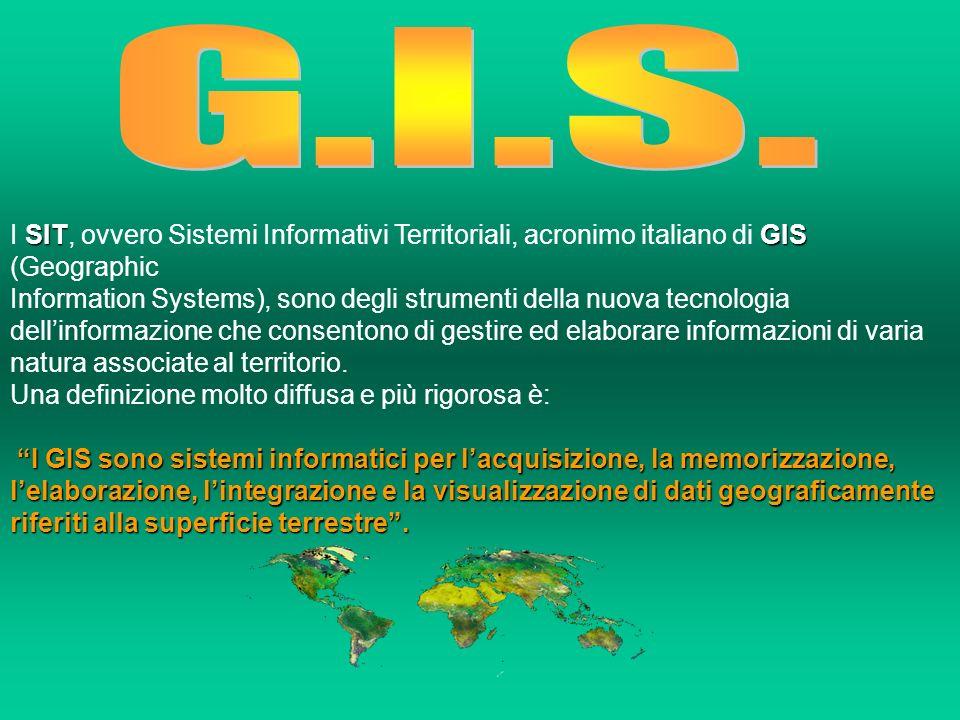 G.I.S. I SIT, ovvero Sistemi Informativi Territoriali, acronimo italiano di GIS (Geographic.