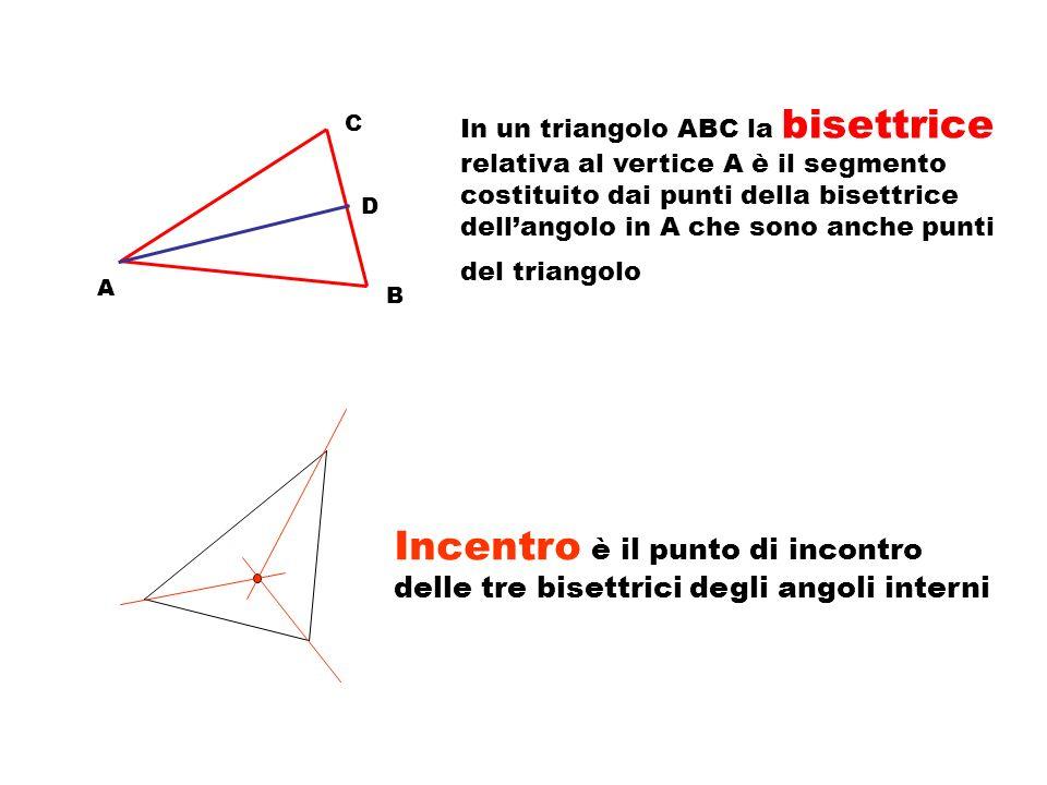 In un triangolo ABC la bisettrice relativa al vertice A è il segmento costituito dai punti della bisettrice dell'angolo in A che sono anche punti del triangolo