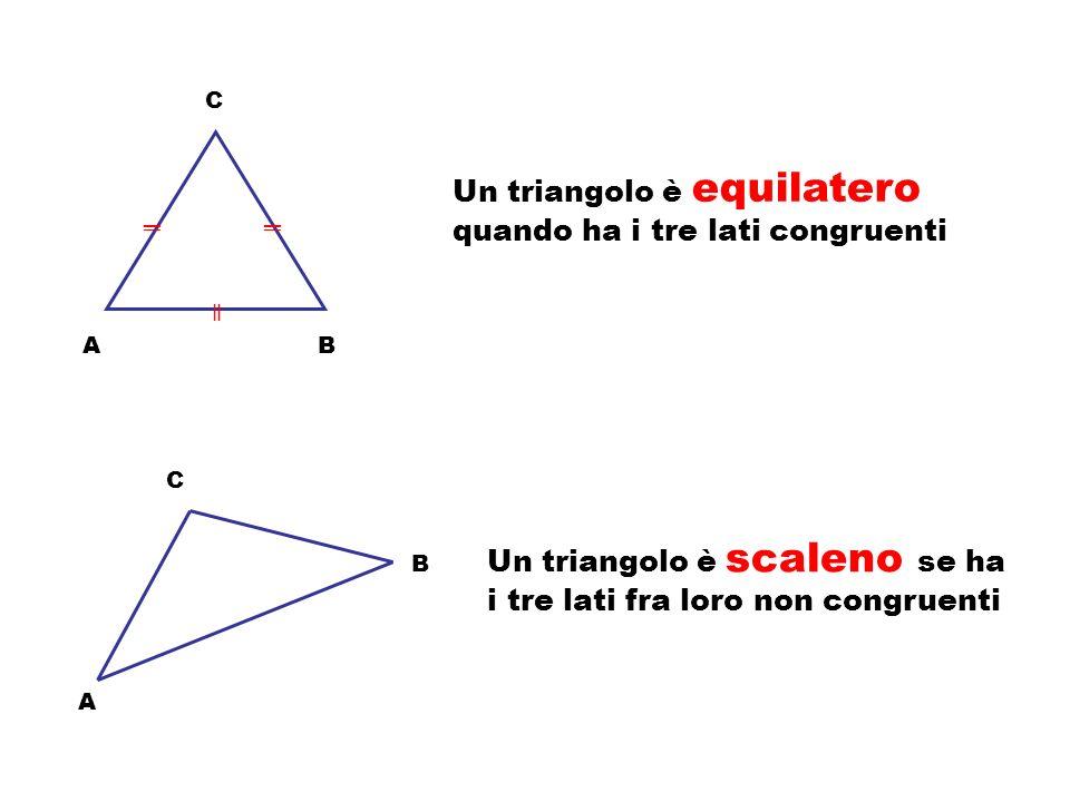 Un triangolo è equilatero quando ha i tre lati congruenti