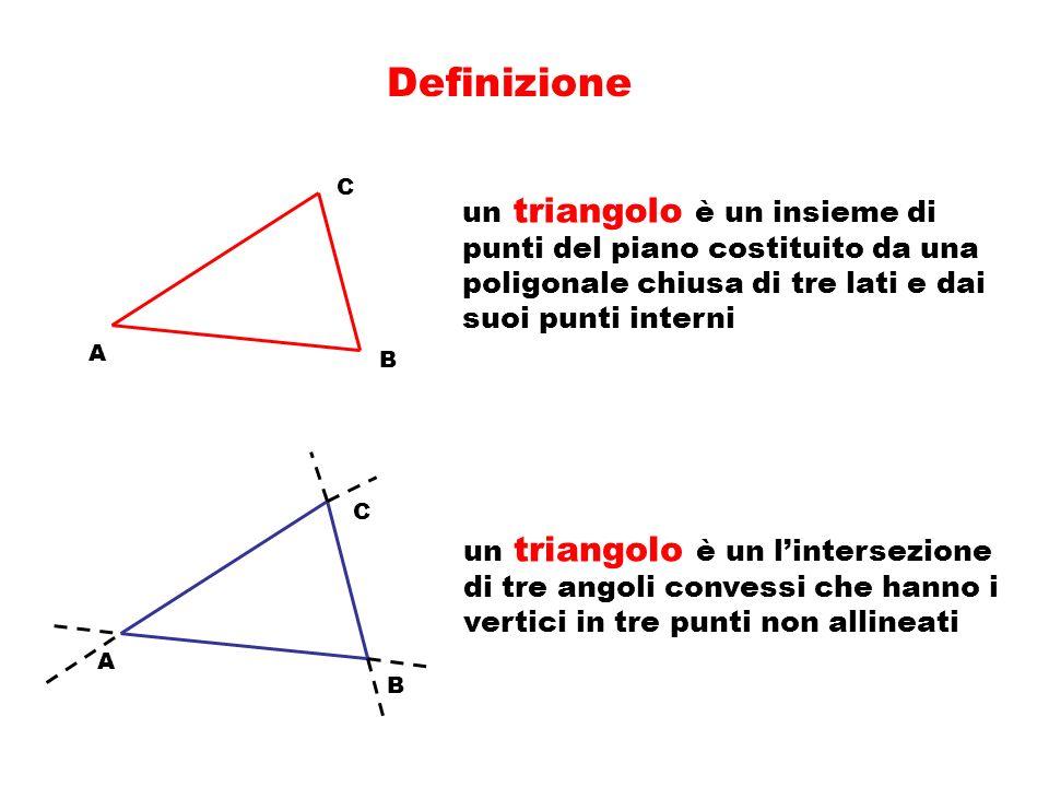 Definizione un triangolo è un insieme di punti del piano costituito da una poligonale chiusa di tre lati e dai suoi punti interni.