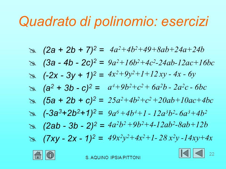 Quadrato di polinomio: esercizi