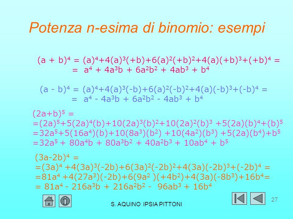 Potenza n-esima di binomio: esempi