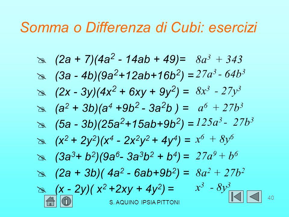 Somma o Differenza di Cubi: esercizi